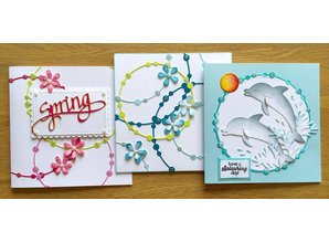 Elisabeth Craft Dies Punching and embossing template: 3 different bands with pearls
