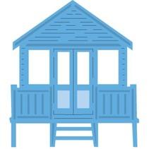 Troquelado y estampado en relieve plantilla: casa en la playa