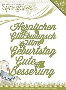 Precious Marieke Punzonado y estampado en relieve plantillas: texto en alemán: Deseos