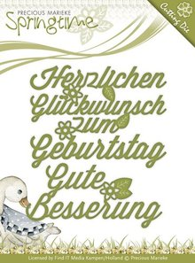 Precious Marieke Stanz- und Prägeschablonen: deutsche Text: Wünsche