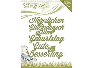 Precious Marieke Stansning og prægning skabeloner: Tysk tekst: Wishes
