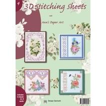 A4 Buch mit Stickvorlage für 8 Karten