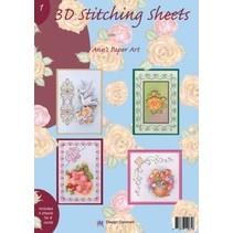 A4 boek Stickvorlage voor 8 kaarten