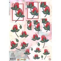 A4 Stanzbogen: rote Rosen