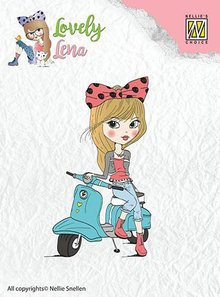 Nellie snellen Transparent stamp: Lena, on scooter