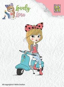 Nellie snellen Transparent stempel: Lena, på scooter