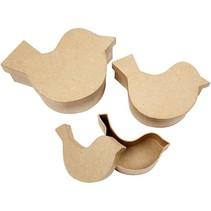 3 cajas en forma de ave