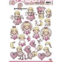 A4 Stanzbogen: Mädchen mit Herz