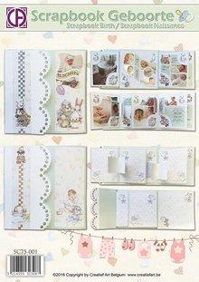 BASTELSETS / CRAFT KITS: Scrapbog fødsel / dåb