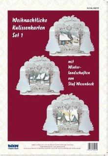 BASTELSETS / CRAFT KITS: Complete Card Set for 3 Christmas backdrop cards