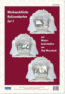 BASTELSETS / CRAFT KITS: Komplet Card Sæt til 3 Jul kulisse kort