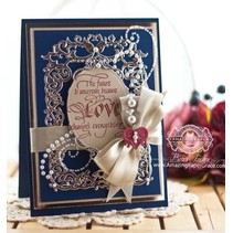 Punching and embossing template: Floral frame with heart