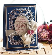 Spellbinders und Rayher Punzonatura e goffratura modello: Cornice floreale con il cuore