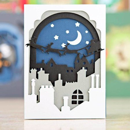 X-Cut / Docrafts Stansning og prægning skabelon: Shadow Box De (8pcs) - Santa in the Sky