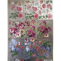 3D Die cut sheets Metallic LOOK: roses and tulips