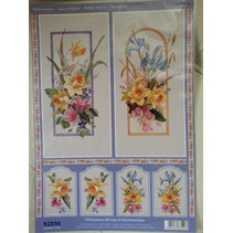 3D Die cut sheets + 1 sheet background: flowers with gift tag