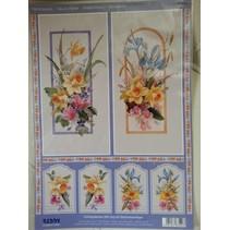 3D Die vellen + 1 vel achtergrond: bloemen met cadeau-tag