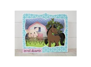 Marianne Design Punching and embossing template: Ponies