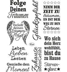 Viva Dekor und My paperworld Transparent stempel: Tysk tekst