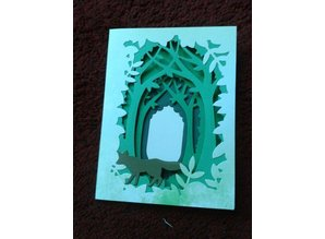 X-Cut / Docrafts Cutting and embossing stencil for a Shadow Box Card, Forest
