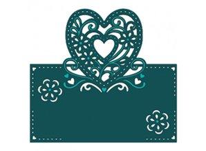 Die'sire Stempling og prægning stencil af Diesire, hjerte, blomster og hjørner