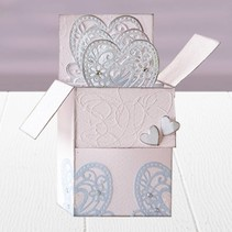 Stamping and embossing stencil of Diesire, heart, flowers and corners