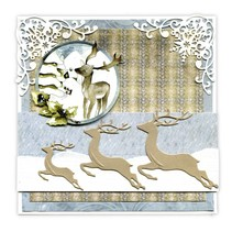 Punching and embossing template: 3 Reindeers