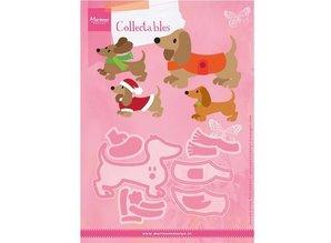 Marianne Design Troquelado y estampado en relieve plantilla: dachshund lindo con los accesorios