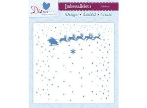 Die'sire Prägefolder, Sterne mit Weihnachtskutsche und Rentieren