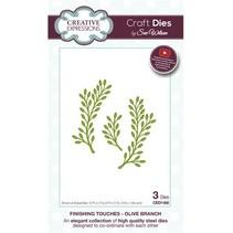 Troquelado y estampado en relieve plantilla: Rama de olivo