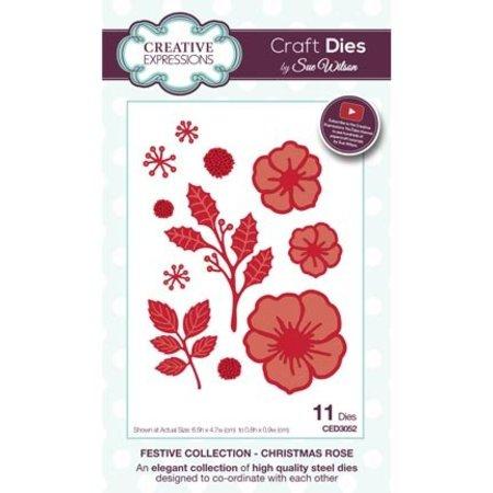 Creative Expressions Troquelado y estampado en relieve plantilla: Rosa de Navidad, CED3052
