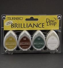 FARBE / INK / CHALKS ... Brilliance Dew Drop Ink, 4-farve sæt