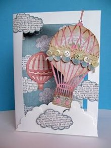 X-Cut / Docrafts 12% DISCOUNT! Stamping template set for 3D image design, hot air balloon vintage