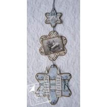 Joy Crafts, skæring og prægning stencil, 3 stjerner