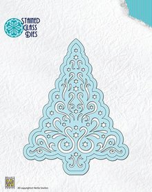 Nellie snellen Punching and embossing templates: Stained Glass, Tree