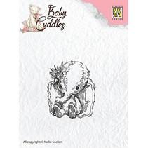 sellos transparentes, elefante del bebé