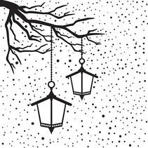 Prägefolder, mit lanterne