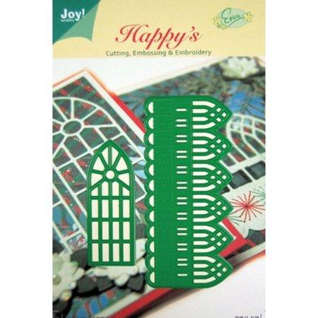 Joy!Crafts und JM Creation Corte y estampado en relieve plantillas, cenefa decorativa y ventanas