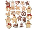 Embellishments / Verzierungen Eksklusiv Set med 20 Gingerbread træfigurer, H: 20-30 mm