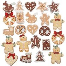 Embellishments / Verzierungen Set esclusiva con figure in legno 20 Gingerbread, H: 20-30 mm