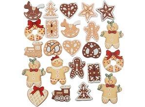 Embellishments / Verzierungen Eksklusiv Set med 20 Gingerbread træfigurer, H: 20-30 mm