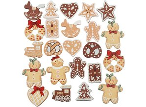 Embellishments / Verzierungen Exclusive Set with 20 Gingerbread wooden figures, H: 20-30 mm