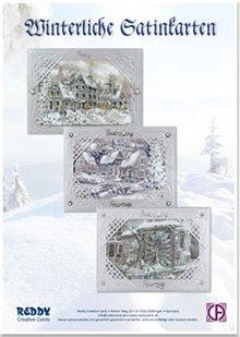 BASTELSETS / CRAFT KITS: Scheda kit di mestiere: carta d'argento satinato invernale