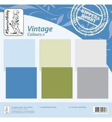 Designer Papier Scrapbooking: 30,5 x 30,5 cm Papier Vintage colors A, 6 sheets, double-sided, college, 240 grs