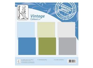 Designer Papier Scrapbooking: 30,5 x 30,5 cm Papier Vintage farver A, 6 ark, dobbeltsidet, kollegium, 240 GRS