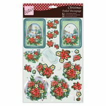 Exclusive 3D Die cut sheets with silver effect, Festive Poinsettia