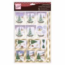 hojas de corte con troquel 3D exclusivas con efecto plateado, Aldea de la Navidad