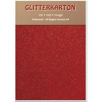 Glitter karton, 10 ark, rød