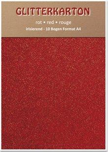 DESIGNER BLÖCKE  / DESIGNER PAPER Glitter cardboard, 10 sheets, red