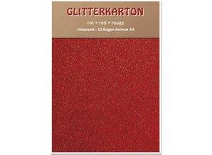 DESIGNER BLÖCKE  / DESIGNER PAPER Glitterkarton,10 Bogen, rot